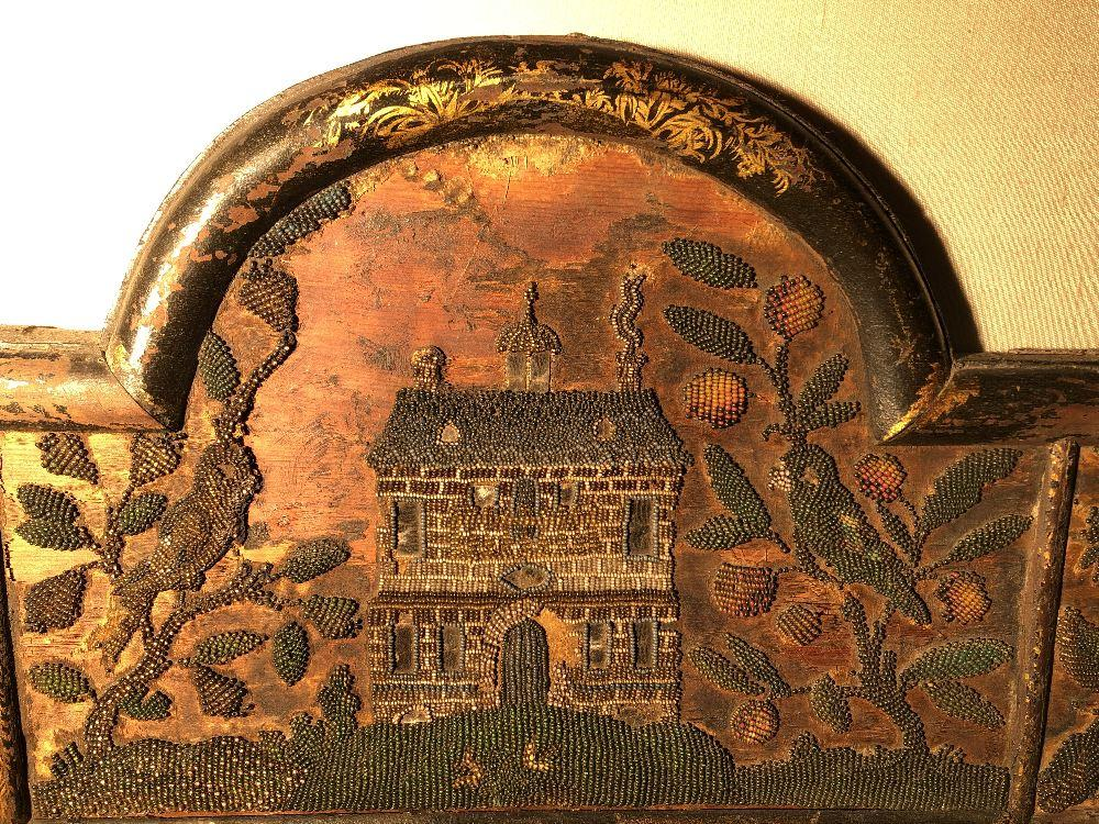 A Charles II beadwork mirror frame, of arched outline, the rectangular mirror plate enclosed by a - Image 3 of 13