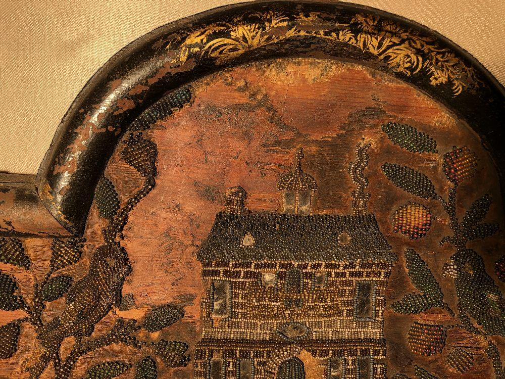 A Charles II beadwork mirror frame, of arched outline, the rectangular mirror plate enclosed by a - Image 13 of 13