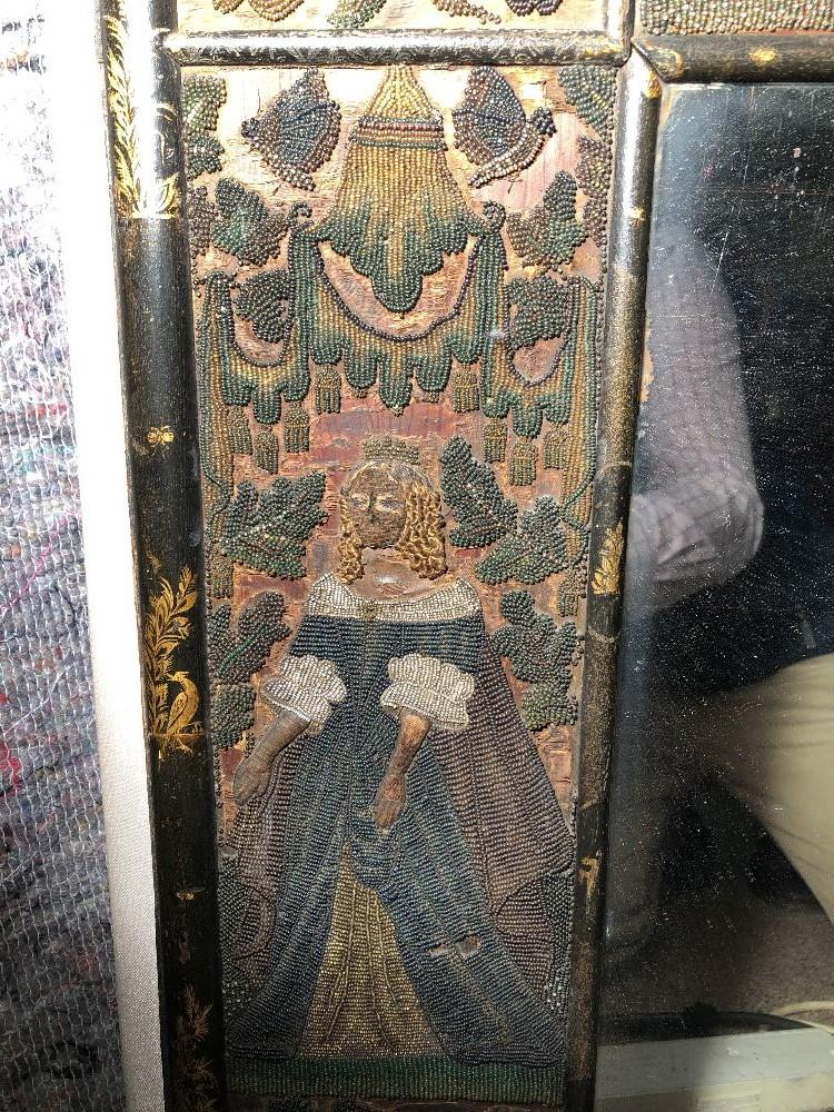 A Charles II beadwork mirror frame, of arched outline, the rectangular mirror plate enclosed by a - Image 5 of 13