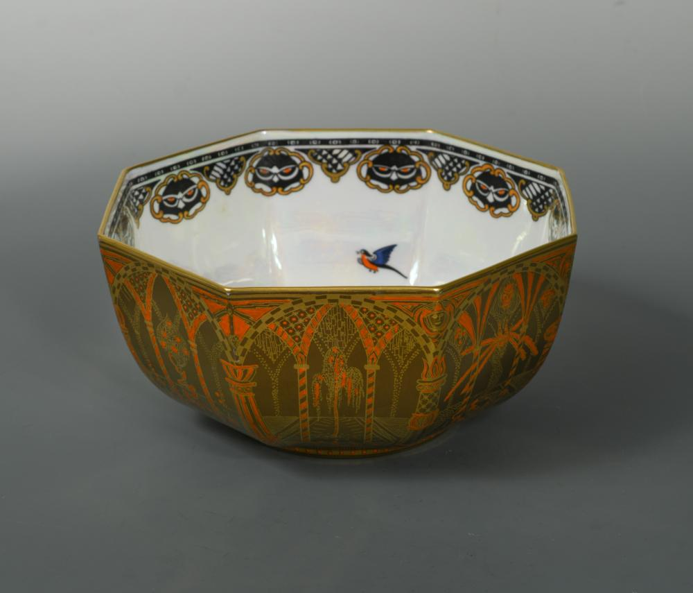 Lot 53 - Daisy Makeig-Jones for Wedgwood, a 'Coral and Bronze Moorish' Fairyland Lustre bowl, of octagonal