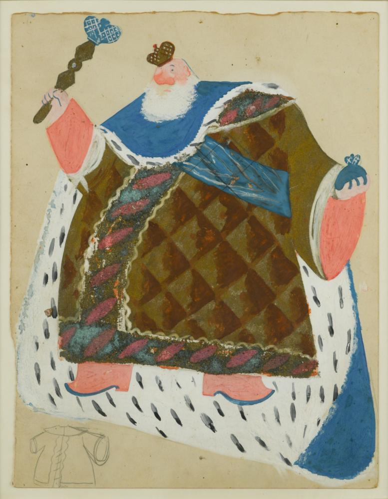 Lot 413 - Pavel Tchelitchew (Russian, 1898-1957) The Tzar, a costume design for Coq d'Or gouache and gold