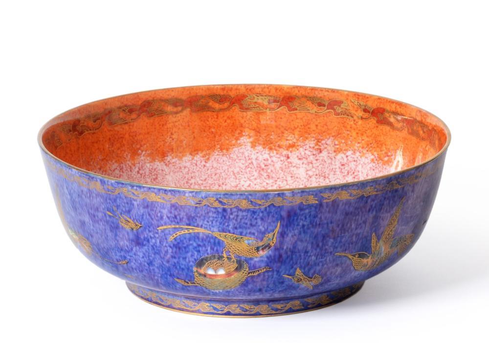 Lot 51 - Daisy Makeig-Jones (1881-1945) for Wedgwood, a Hummingbird lustre bowl, with nesting hummingbird