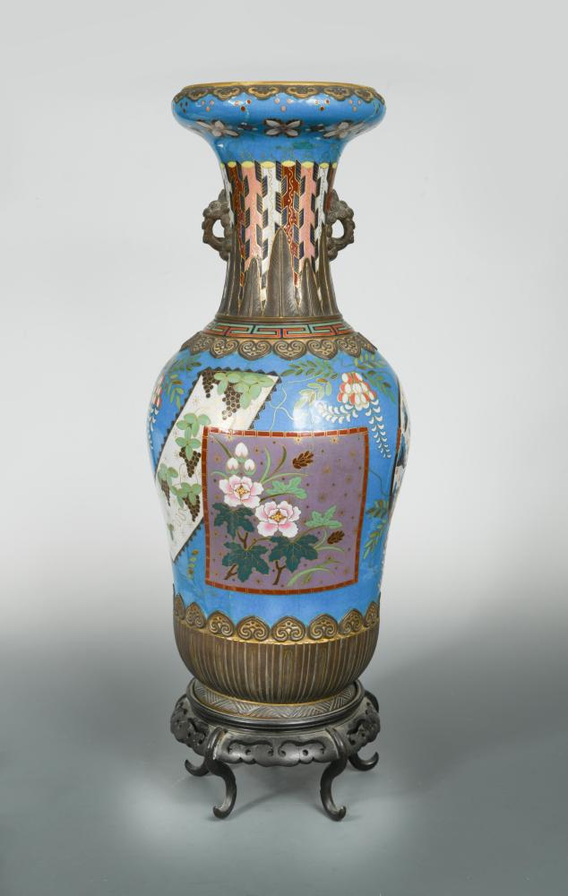 Lot 28 - Attributed to Christopher Dresser for Minton, a large 'Cloisonné' vase, of baluster form decorated