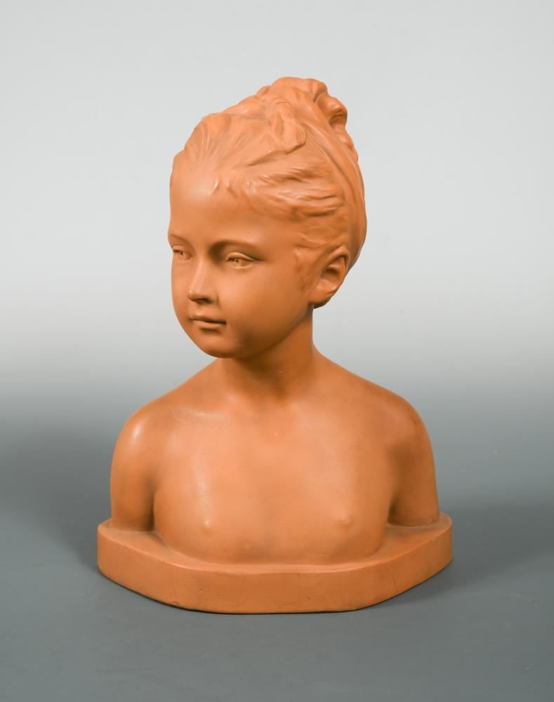 Lot 38 - A Goldscheider terracotta bust of a young female nude, impressed marks and numbered to reverse