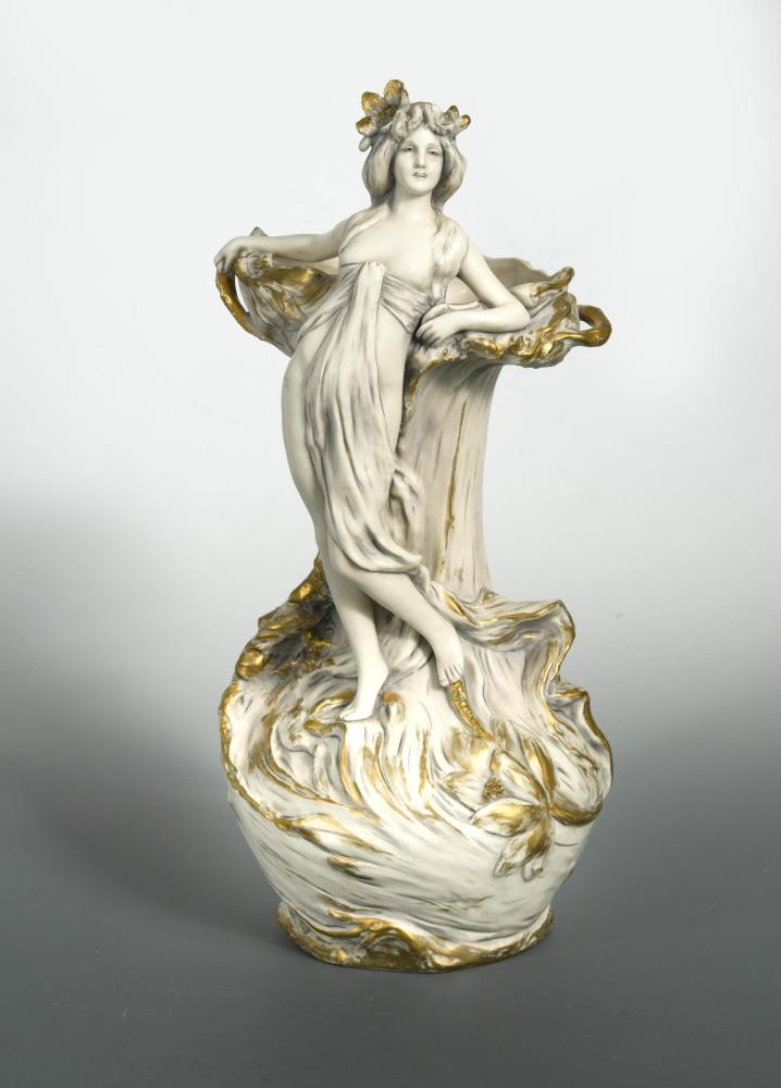 Lot 30 - Royal Dux, an early 20th century Bohemia Art Nouveau porcelain two-handled vase, modelled as a nymph