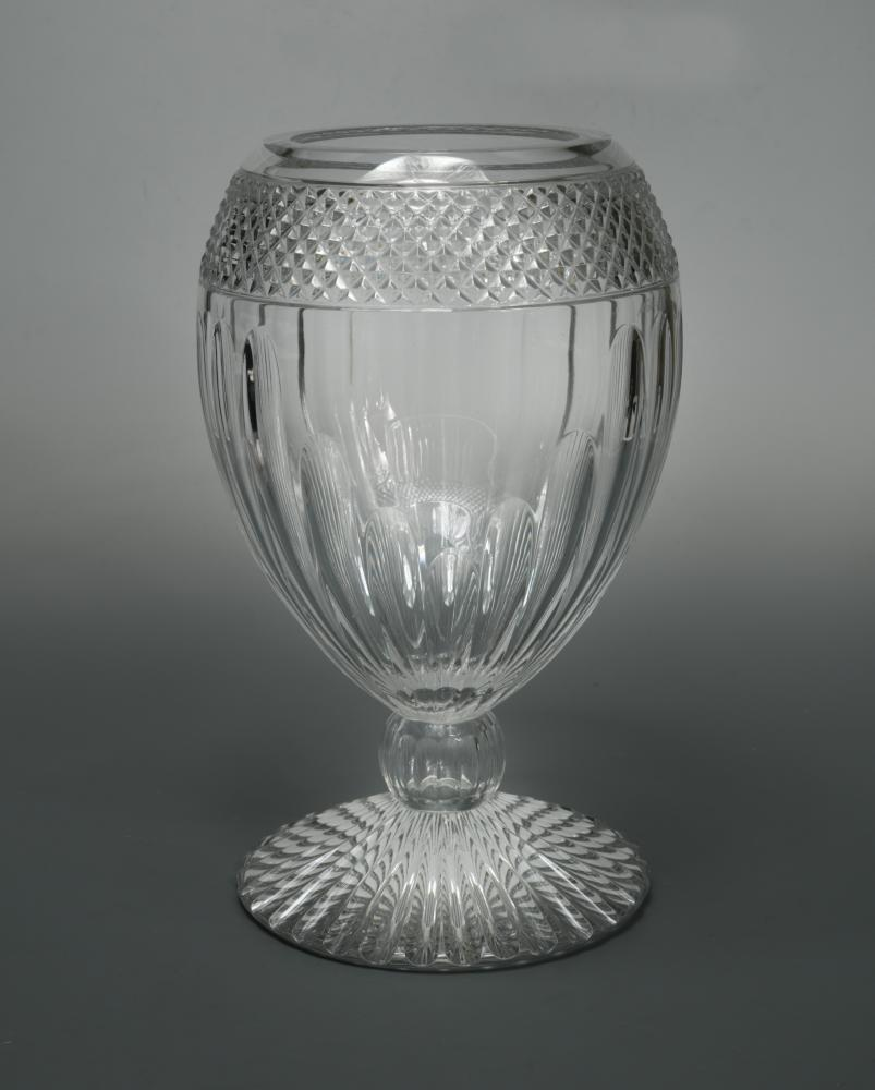 Lot 10 - A large Mario Cioni cut glass vase, of bulbous form raised on a spreading circular foot, etched