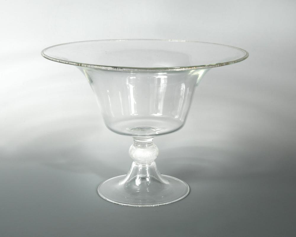 Lot 13 - A large Seguso Murano glass centrepiece, the flared bowl with aventurine included rim to a knopped