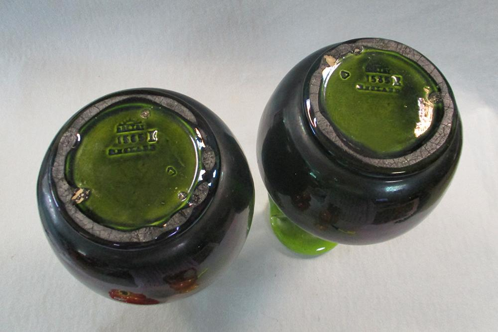 Lot 20 - A large pair of Bretby Art Pottery twin-handled vases, with lustrous green glaze, impressed marks,