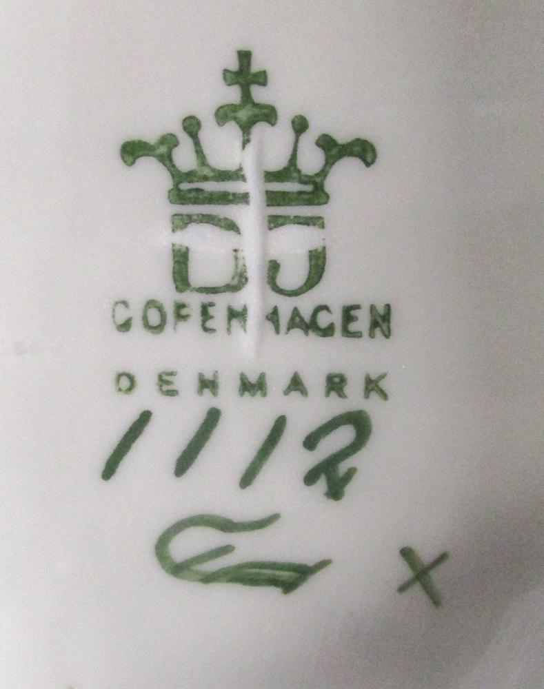 Lot 46 - Jens Peter Dahl Jensen for Copenhagen, two porcelain models of Great Danes, each with green