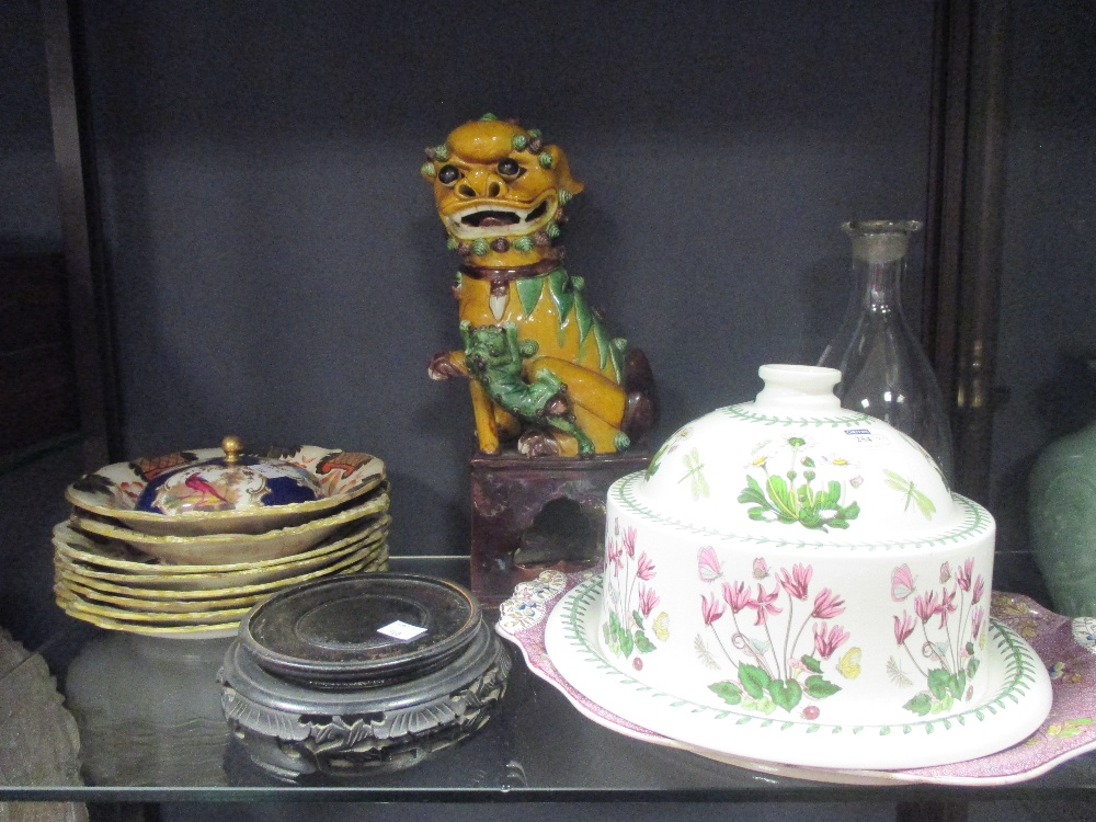 Lot 254 - An Ironstone oval tureen stand, part Wedgwood dinner service, Dogs of Fo - damaged, etc