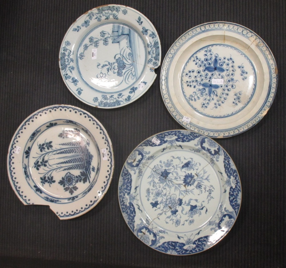 Lot 236 - A Liverpool Delft dish - a/f, and three further delftware dishes, (repaired) (4)
