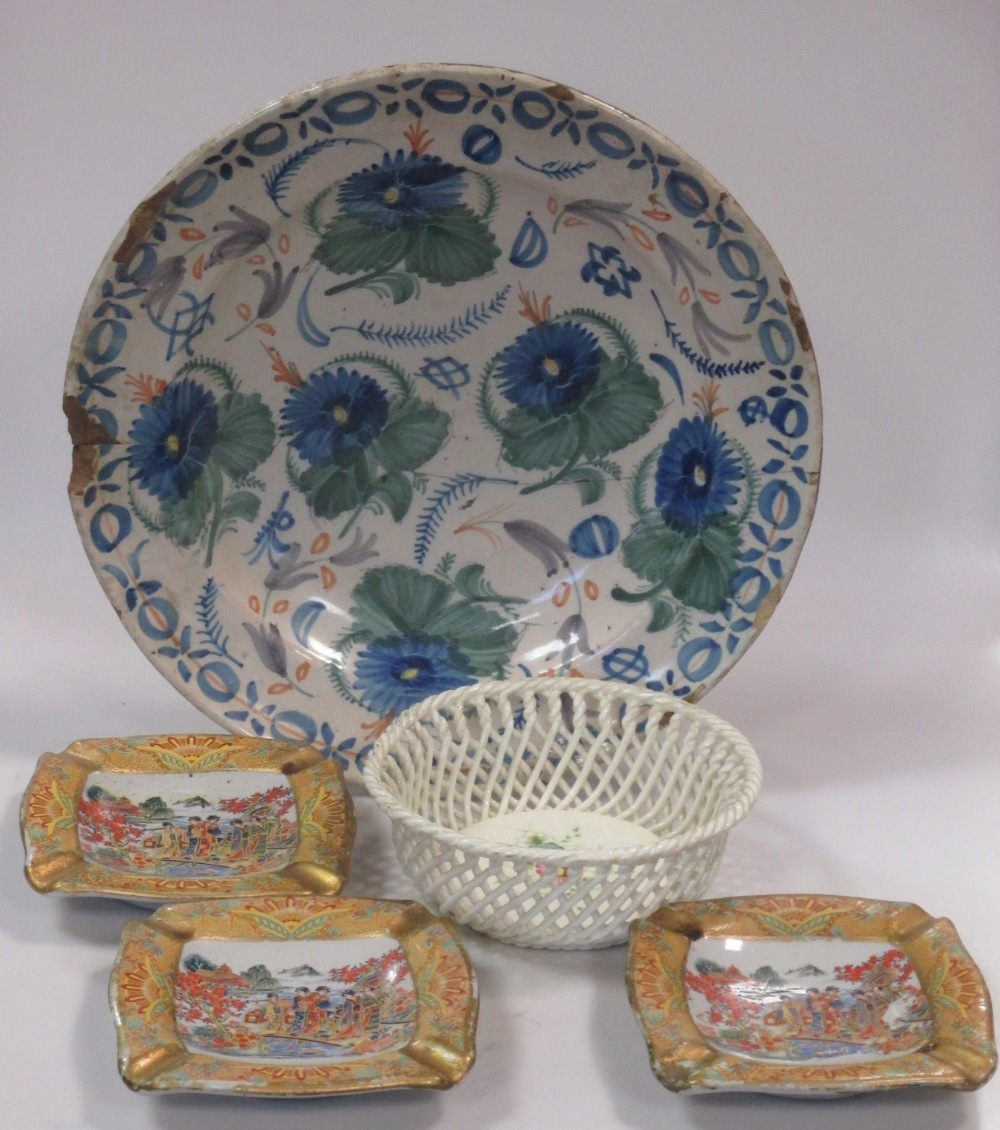 Lot 221 - Delft plate, three Chinoiserie decorated plates and Sevres type basket (5)