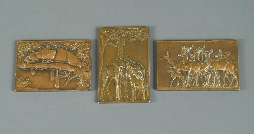 Lot 310 - § François Maurice Thénot (French, 1893-1963), three small Art Deco bronze relief plaques, each cast