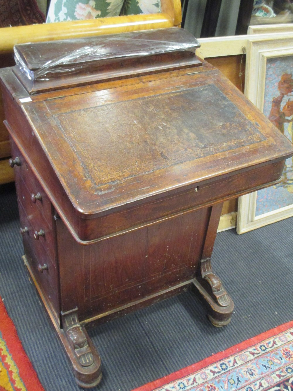 Lot 564 - A late Victorian walnut Davenport desk, 53cm