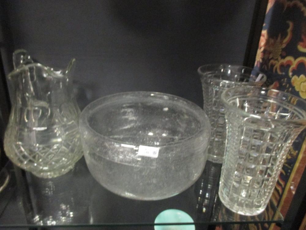 Lot 248 - An amethyst glass jug, a Beleek style ewer, Bristol blue jug and other glassware
