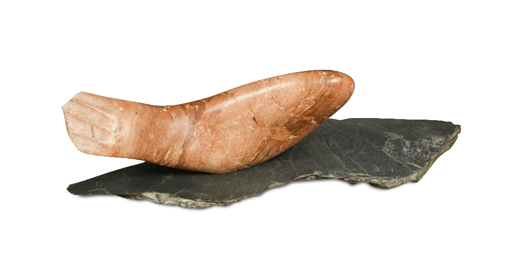 Lot 326 - Tsugumi Ota, (Japanese, born 1951), a carved marble fish sculpture, mounted to a slate platform