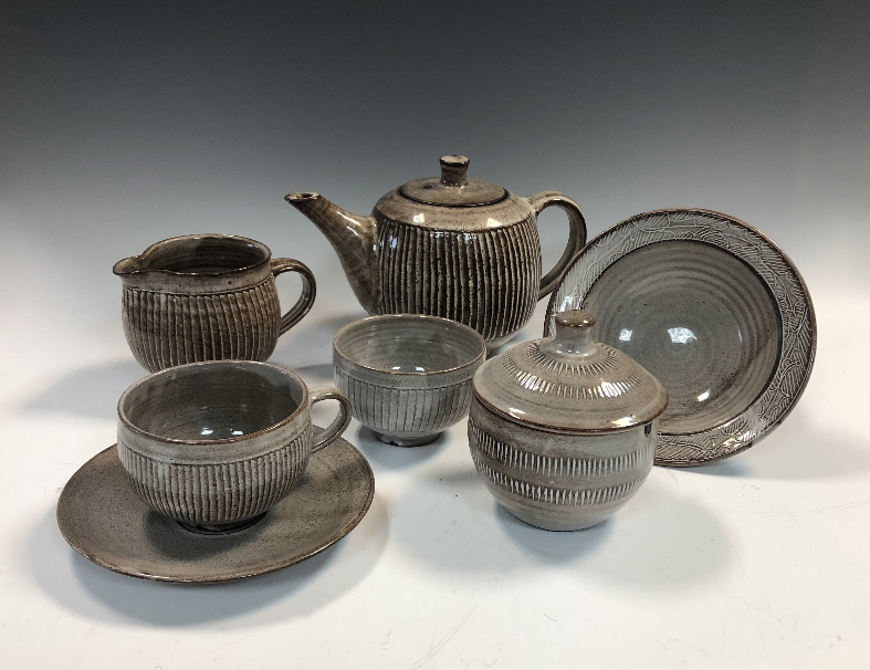 Lot 215 - § David Leach (British, 1911-2005), a Lowerdown Pottery breakfast service, comprising teapot and