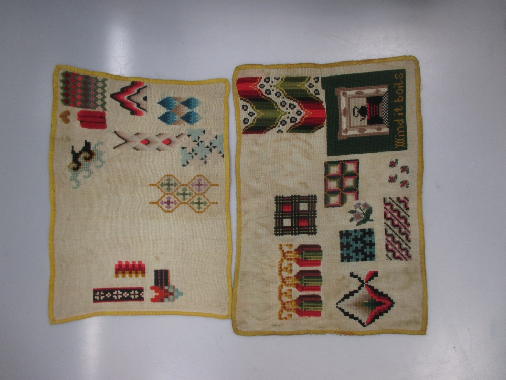 Lot 314 - Five 19th century needlework example panels, a 1920's sequin evening jacket and other textiles
