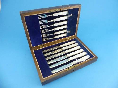 Lot 11 - A cased set of six George V silver Dessert Knives and Forks, by Frederick C. Asman & Co., hallmarked
