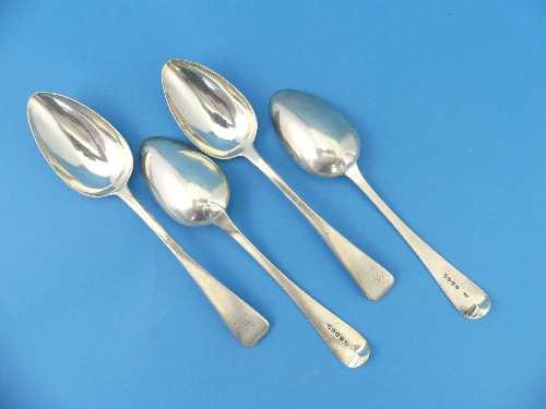 Lot 46 - A set of four George III silver Table Spoons, by William Chawner II, hallmarked London, 1819, Old