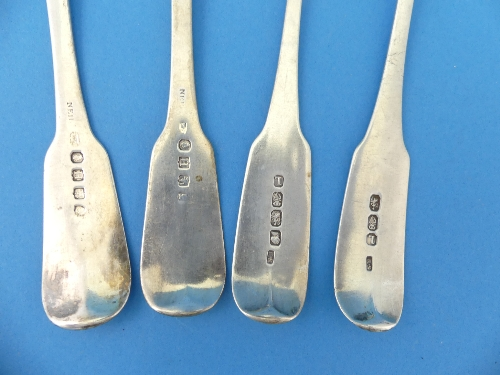 Lot 47 - A pair of George III silver Table Spoons, by Richard Sawyer, hallmarked Dublin, 1807, fiddle