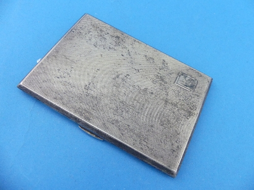 Lot 12 - A George V silver Cigarette Case, hallmarked Birmingham, 1935, of hinged rectangular form, the whole