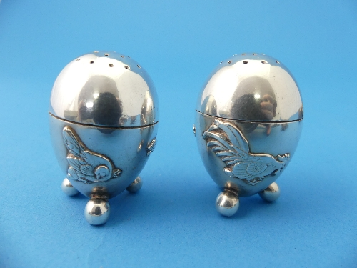 Lot 18 - A set of ten Oriental silver Cruets, comprising six open salts, two damaged, and four pepper