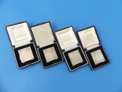Lot 15 - A set of four cased miniature Lighters, by S.P.Ora, hallmarked 1933 and 1938, each of hinged