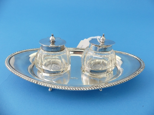 Lot 5 - A George V silver Inkstand, probably Barker Brothers, makers mark rubbed, hallmarked Chester,