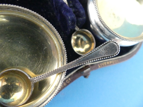 Lot 34 - A cased set of six Victorian silver Open Salts, by Elkington & Co., hallmarked Birmingham, 1869,