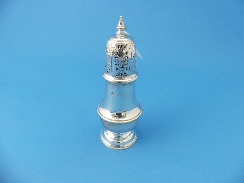 Lot 7 - A George VI silver Sugar Caster, by H.Phillips, hallmarked London, 1941, of traditional circular