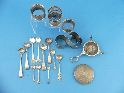 Lot 54 - A quantity of Silver Items, including seven various napkin rings, salt spoons, powder compact, tea