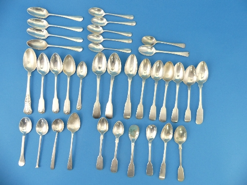 Lot 45 - A collection of thirty three silver Teaspoons, including George III examples, 19thC Irish spoons