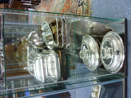 Lot 20 - A quantity of Silver Plate, including entree dishes, bottle coasters, trays, mugs, flatware etc.,