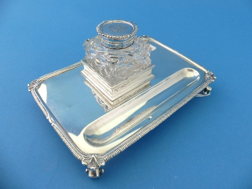 Lot 29 - A George V silver Inkstand, by Harrods Ltd., hallmarked London, 1919, of rectangular form with