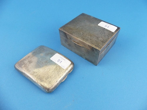 Lot 51 - A George V silver Cigarette Case, hallmarked Chester, 1919, of domed rectangular form, central