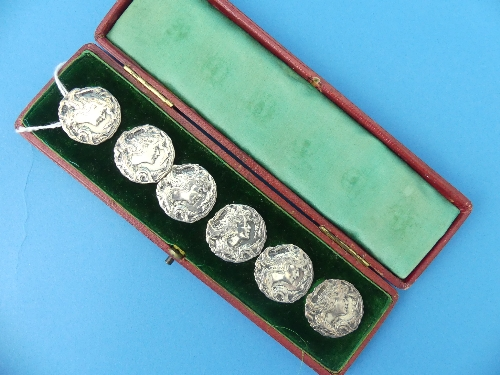 Lot 1 - A cased set of six Edwardian silver Buttons, by William M. Hayes, hallmarked Birmingham, 1901/2,