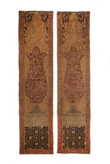 Lot 44 - TWO EMBROIDERED VELVET WALL HANGINGS.