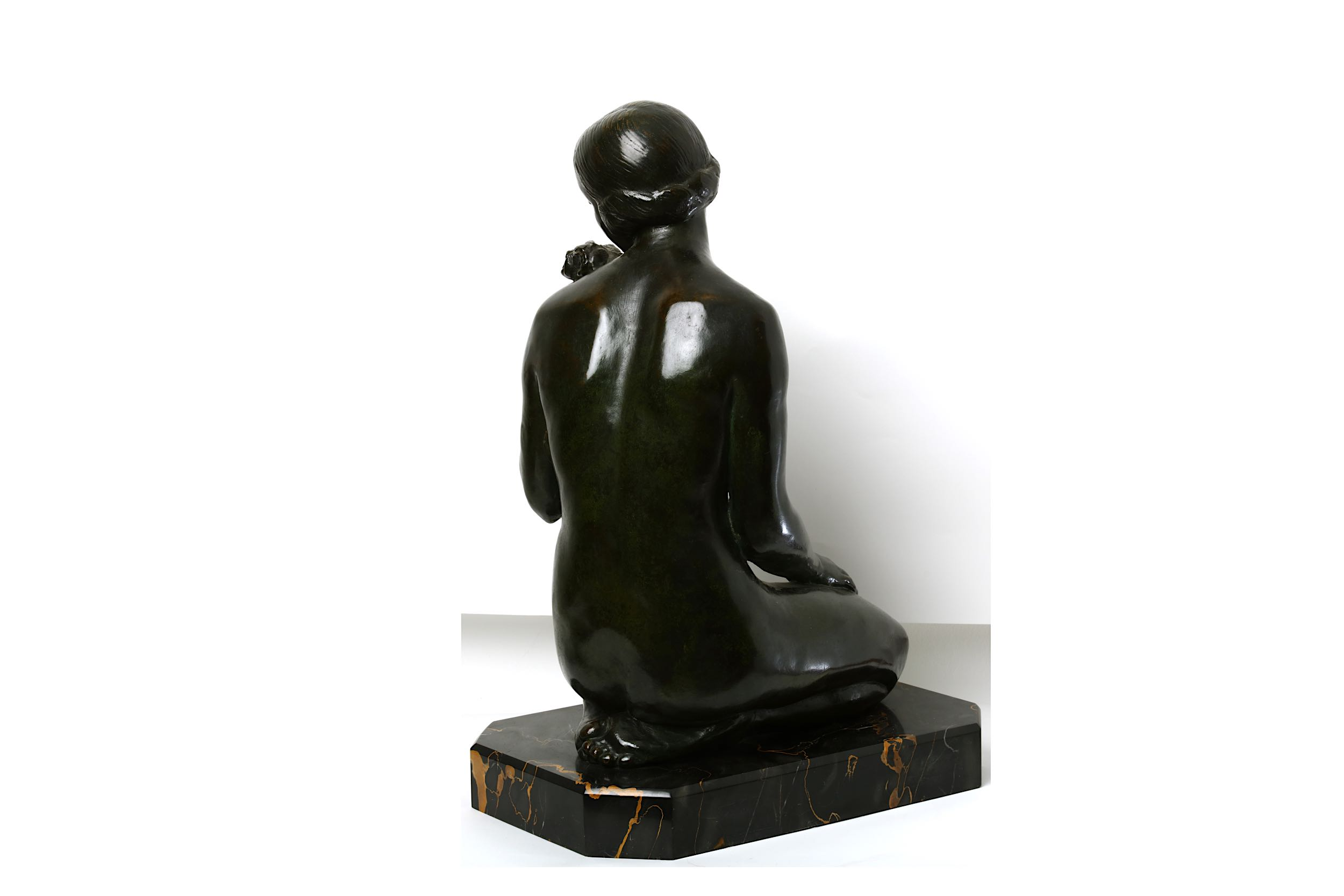 Lot 26 - LUCIEN CHARLES EDOUARD ALLIOT (1877-1967), A BRONZE FIGURE OF A SEATED NUDE.