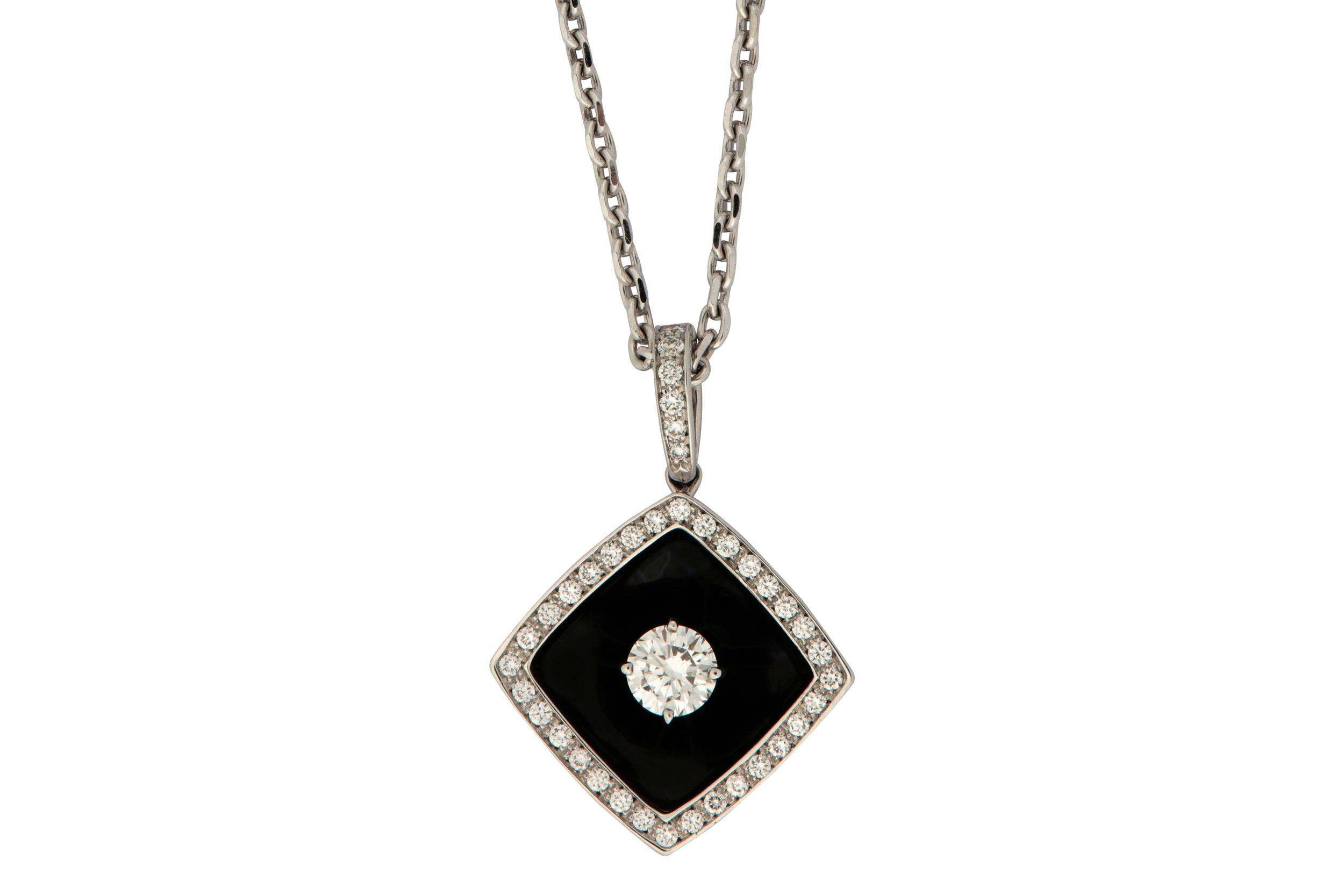 Lot 6 - An enamel and diamond 'Nuit Noire' pendant necklace, by Chanel
