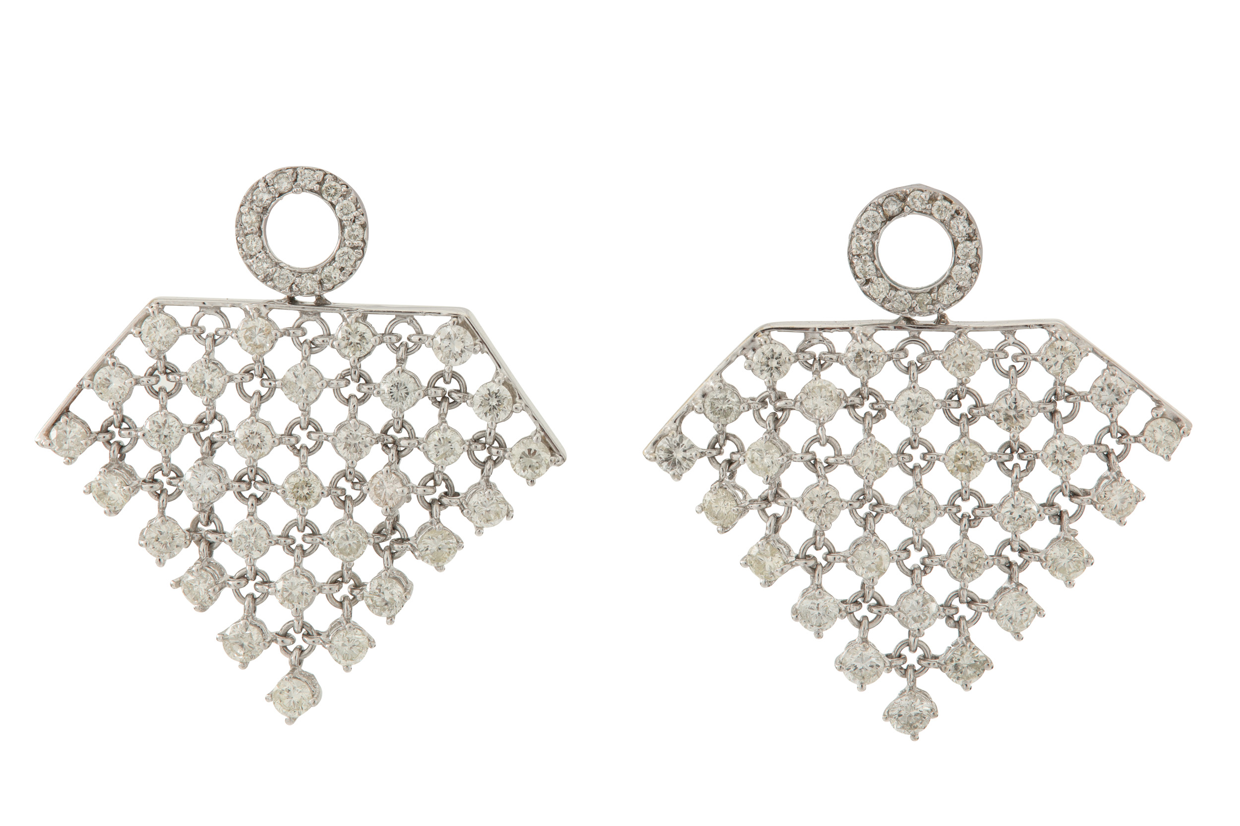 Lot 13 - A pair of diamond earrings