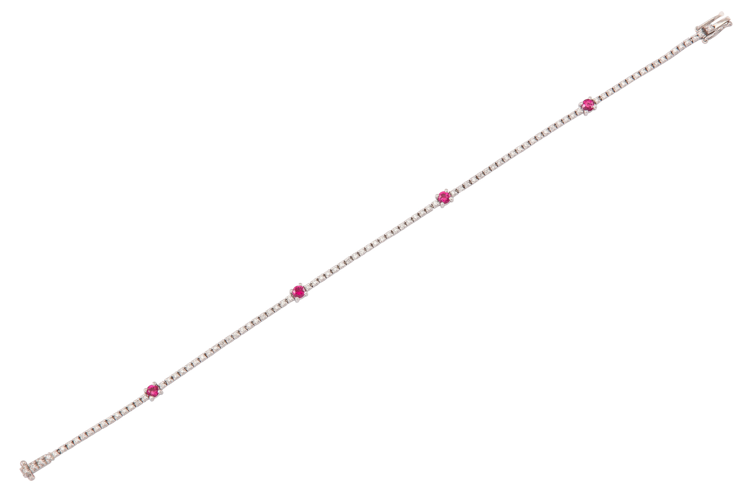 Lot 45 - A ruby and diamond line bracelet
