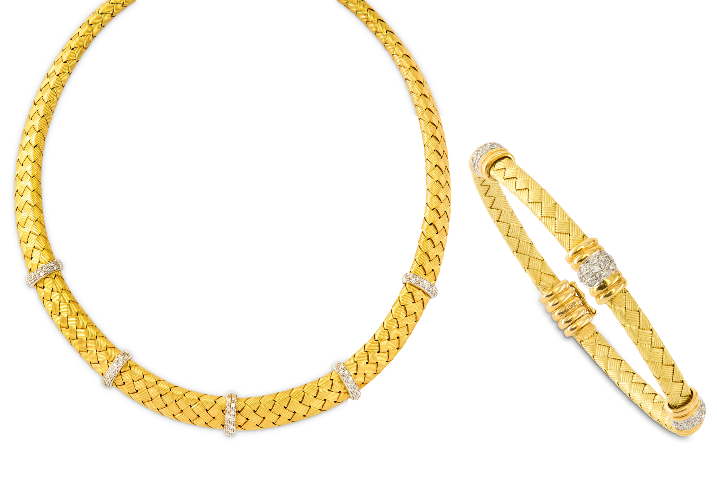 Lot 20 - A diamond necklace and bangle suite, retailed by Mappin & Webb, 1998
