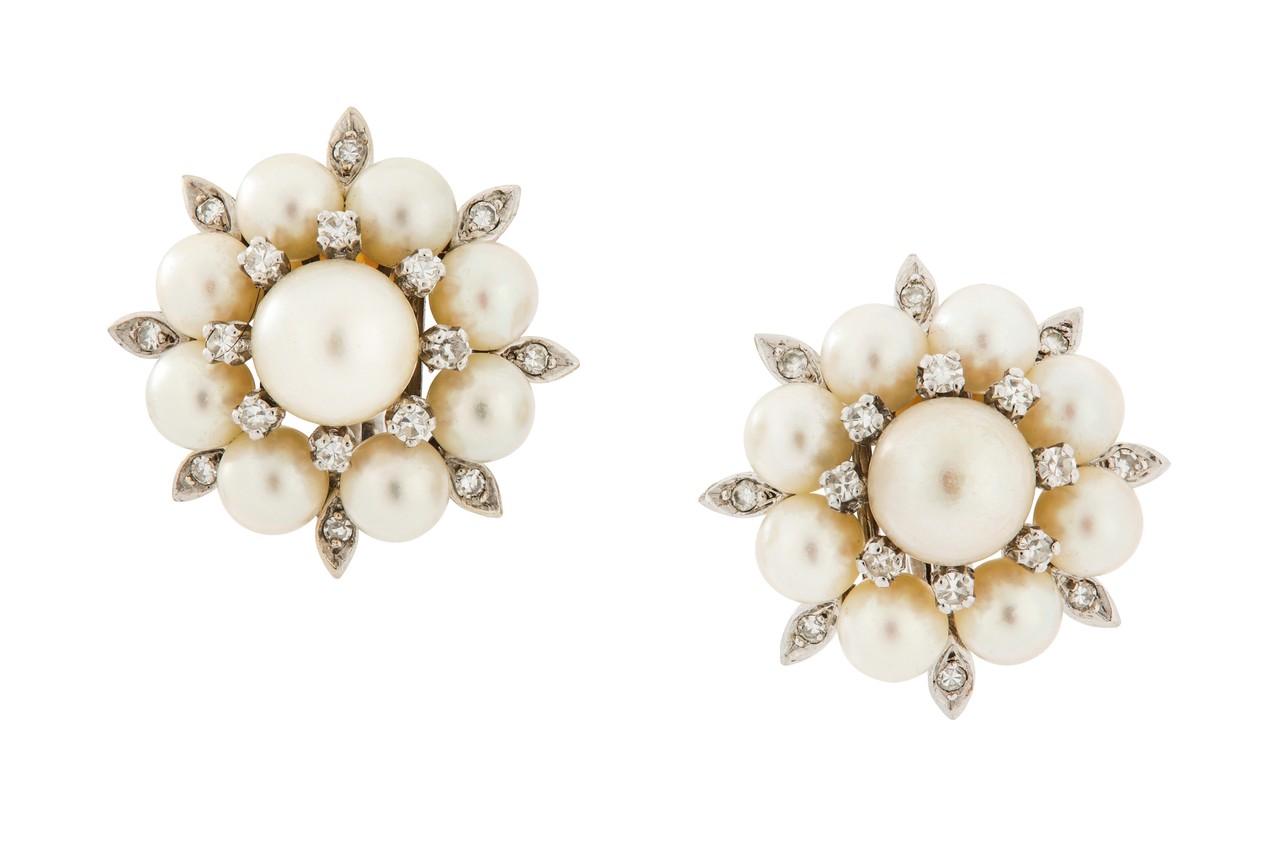 Lot 24 - A pair of cultured pearl and diamond earclips, circa 1960