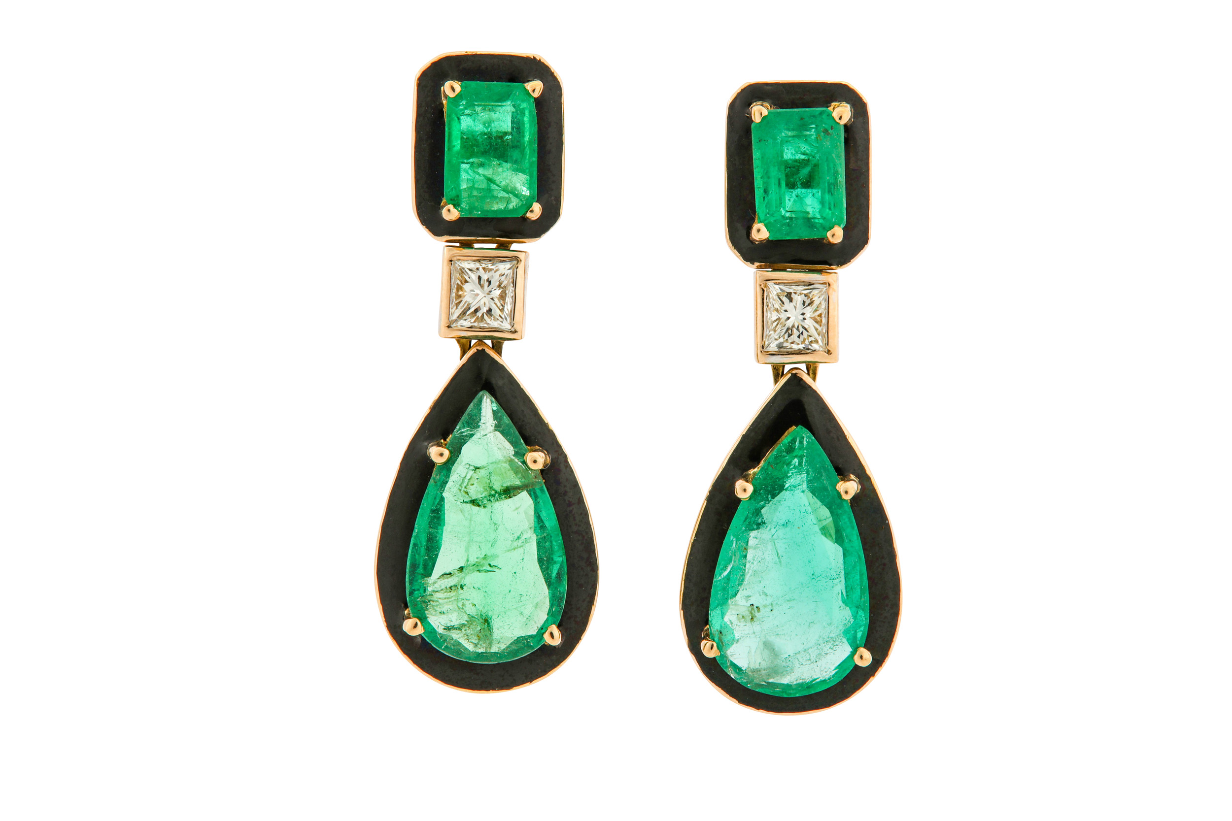 Lot 21 - A pair of emerald, diamond and enamel pendent earrings