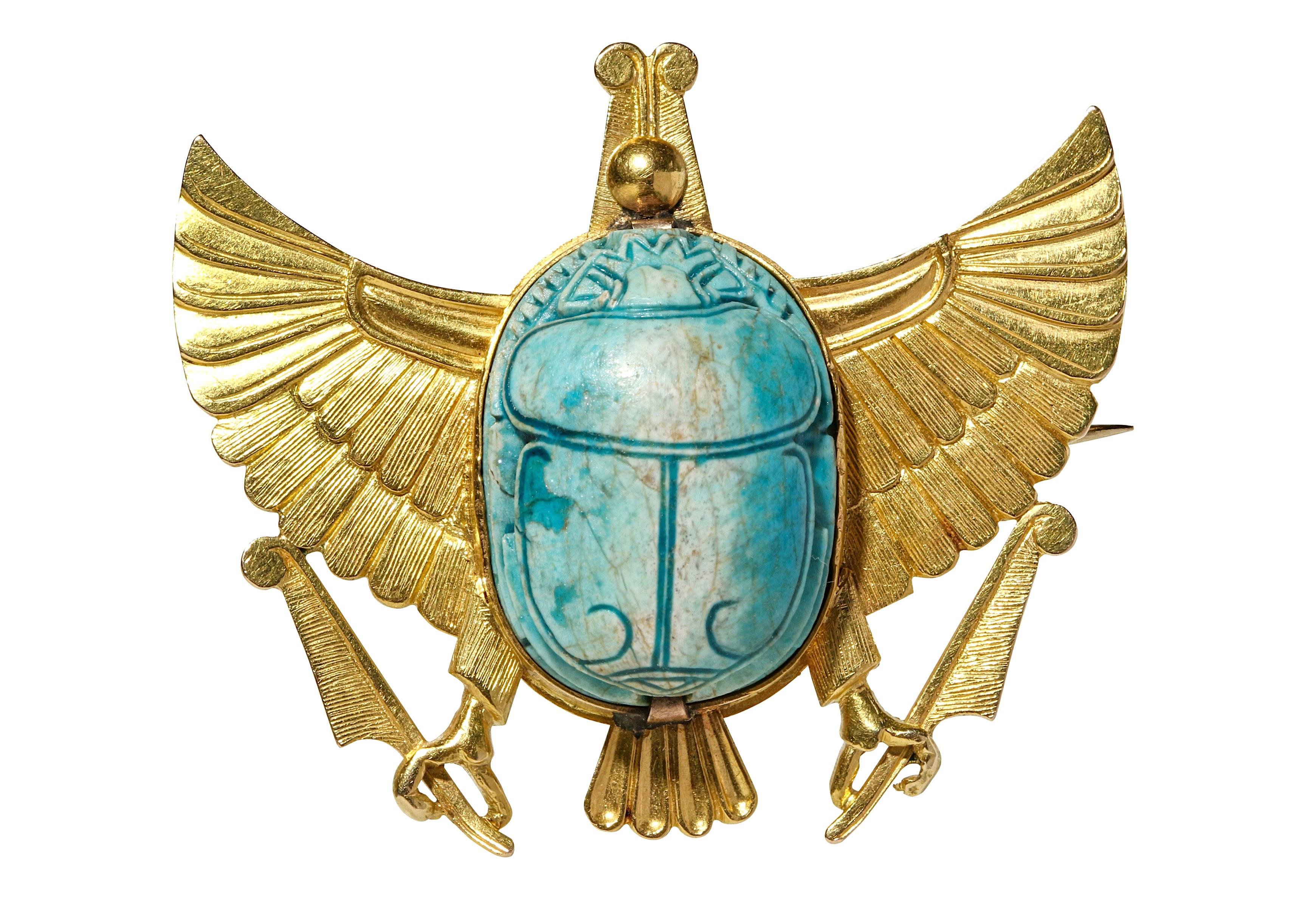 A SCARAB BROOCH Mounted on a modern gold setting in the form of wings surmounting two talons
