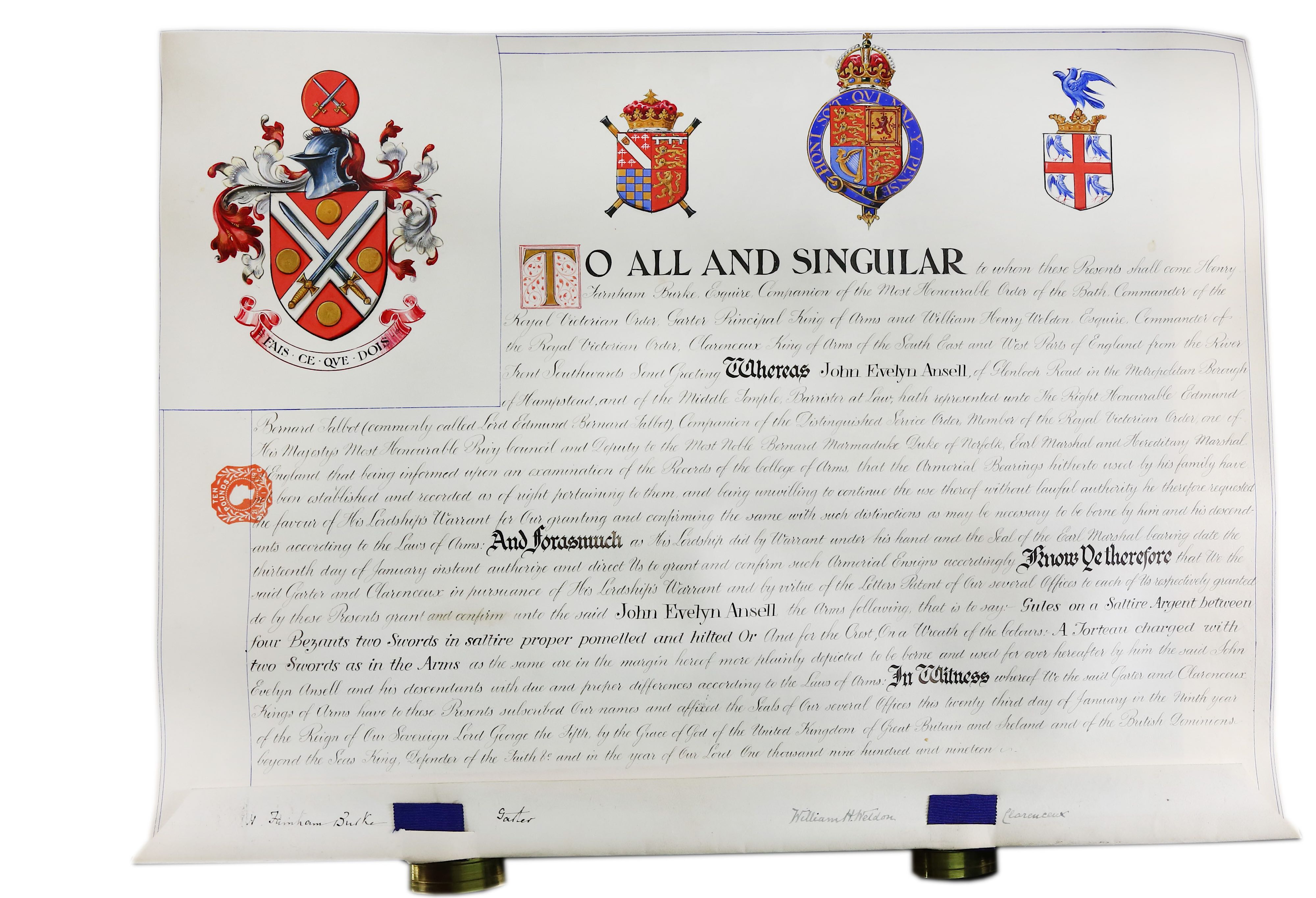 Lot 209 - Grant of Arms.-John Evelyn Ansell Grant of Arms issued by Henry Farnham Burke, Garter Principal