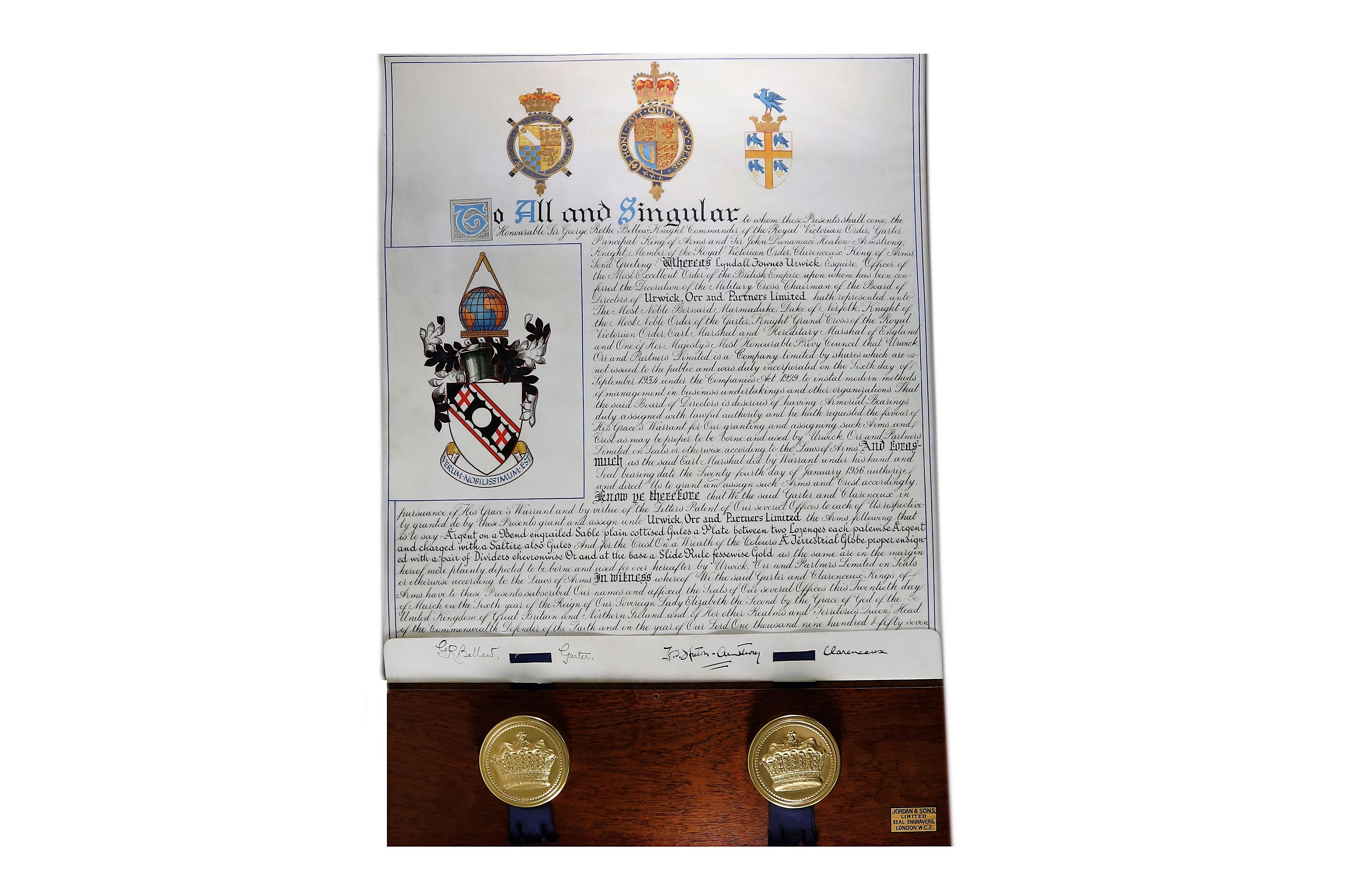 Lot 210 - Grant of Arms.-Urwick Orr & Partners Original Grant of Armsapplied for by Lynden Fownes Urwick OBE