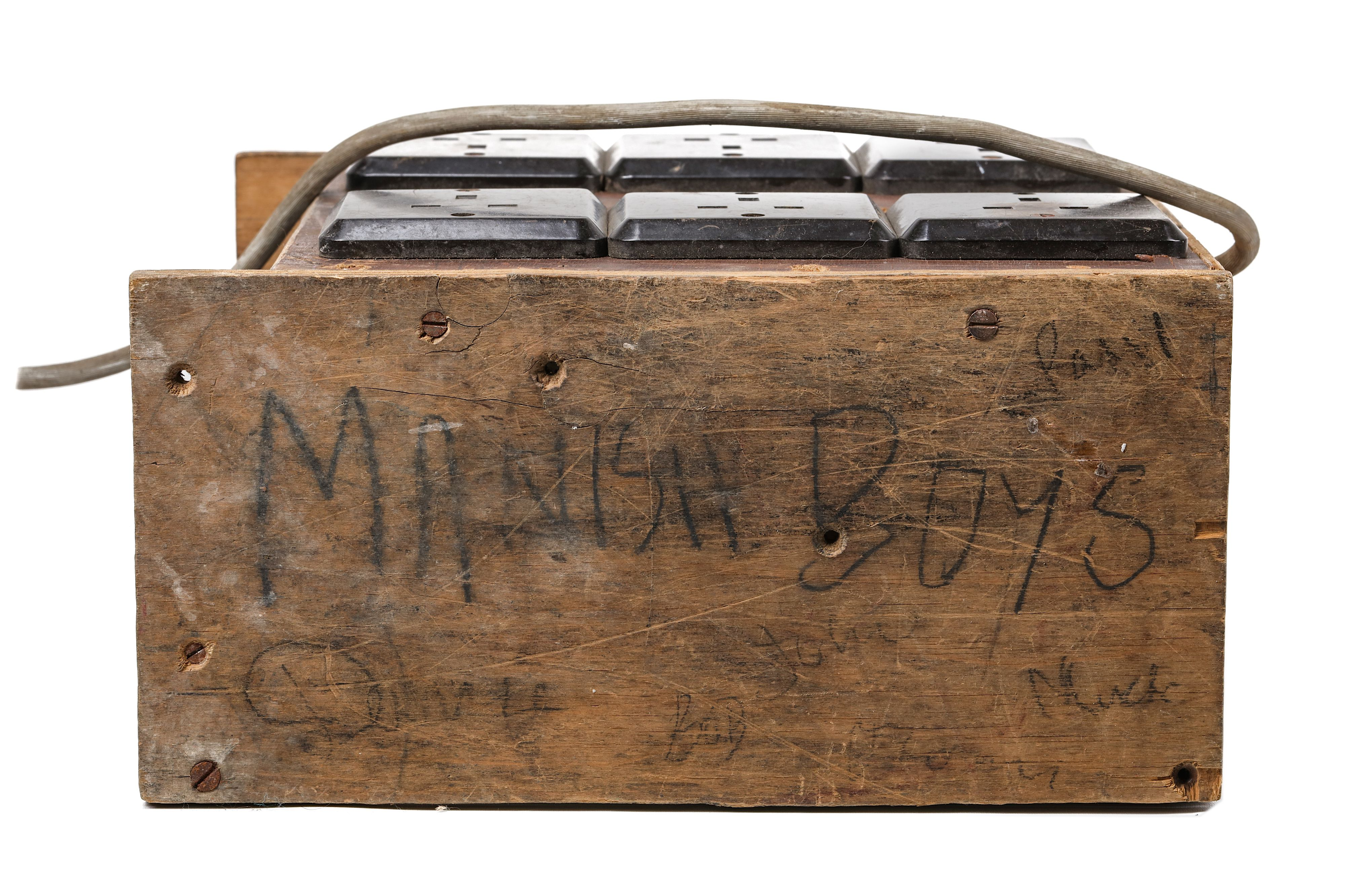 Lot 180 - The Manish Boys Unique wooden plug-box specifically made for the Manish Boys by their road