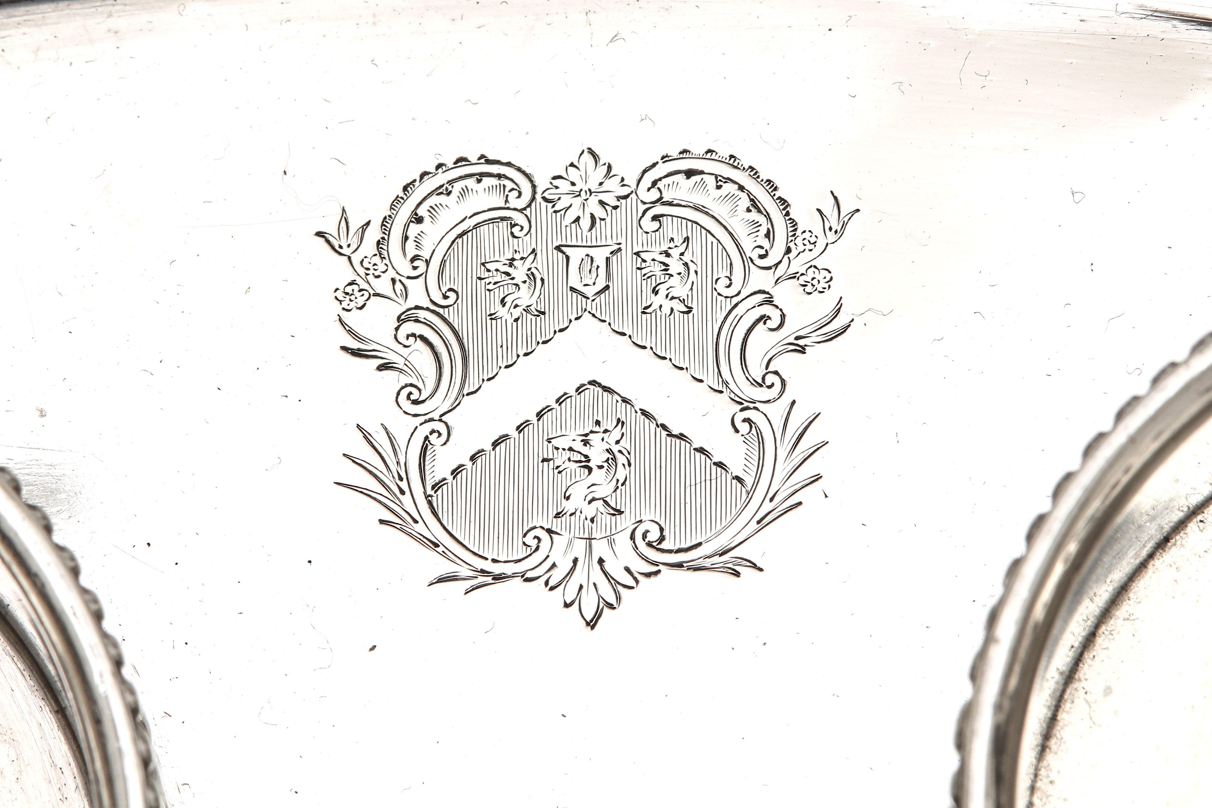 Lot 42 - A George III sterling silver oil and vinegar cruet base, London 1775 by Peter Desvignes (reg. 26th J
